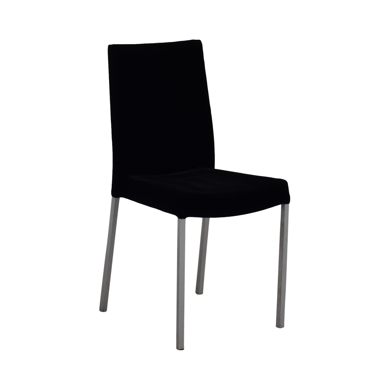 Modern Metal and Black Plush Fabric Chair Chairs