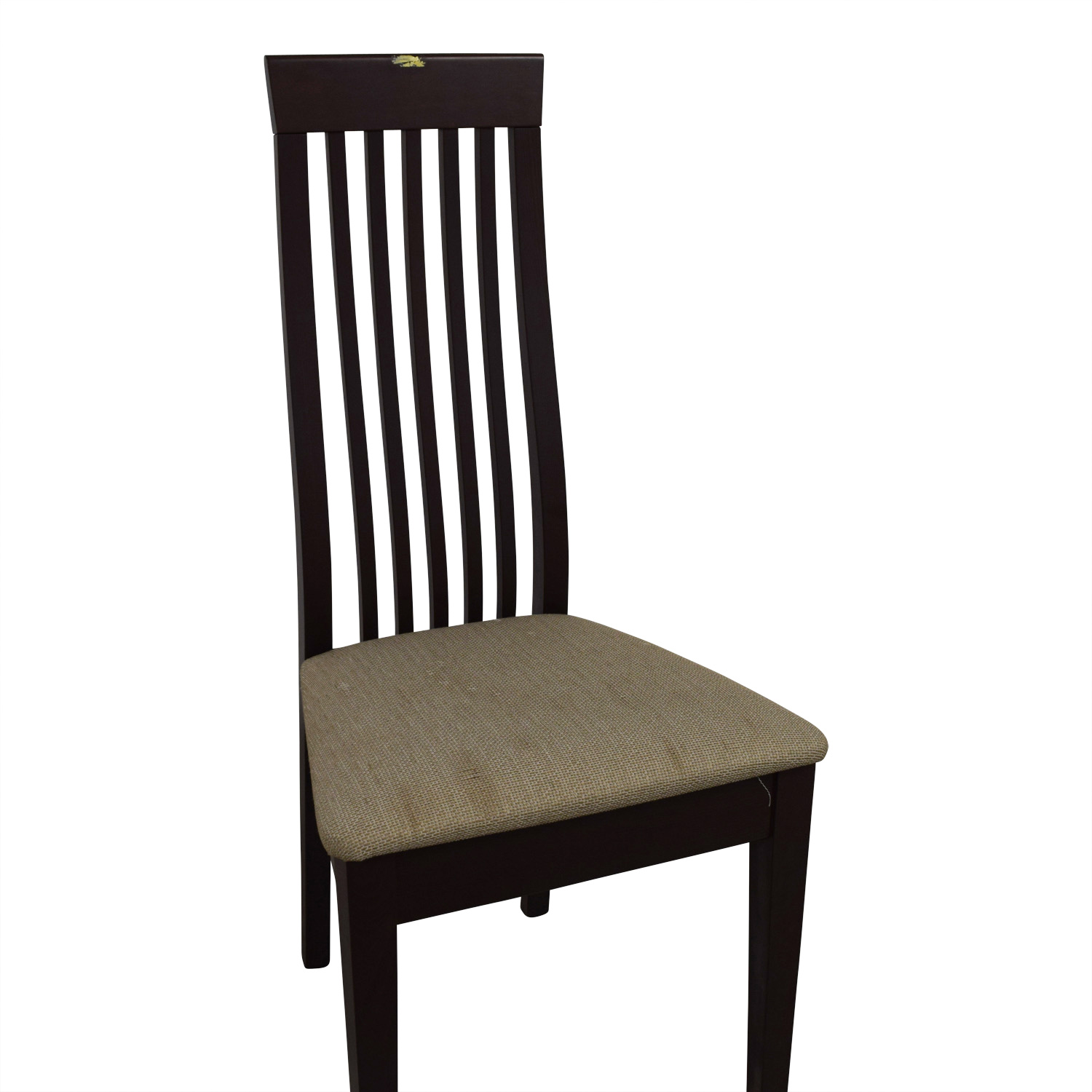 Wood Vertical Slat Back with Tan Cushioned Chair Dining Chairs