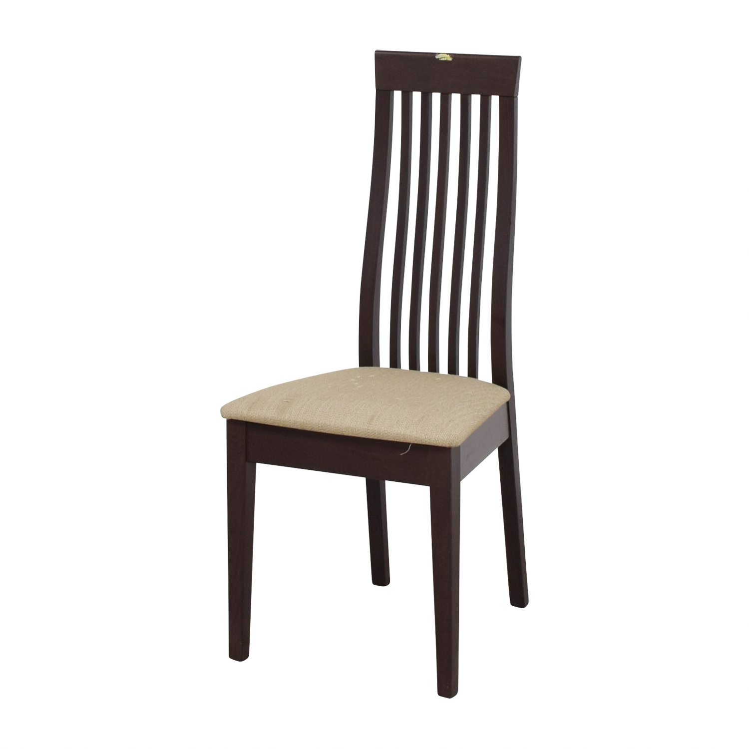 buy Wood Vertical Slat Back with Tan Cushioned Chair online