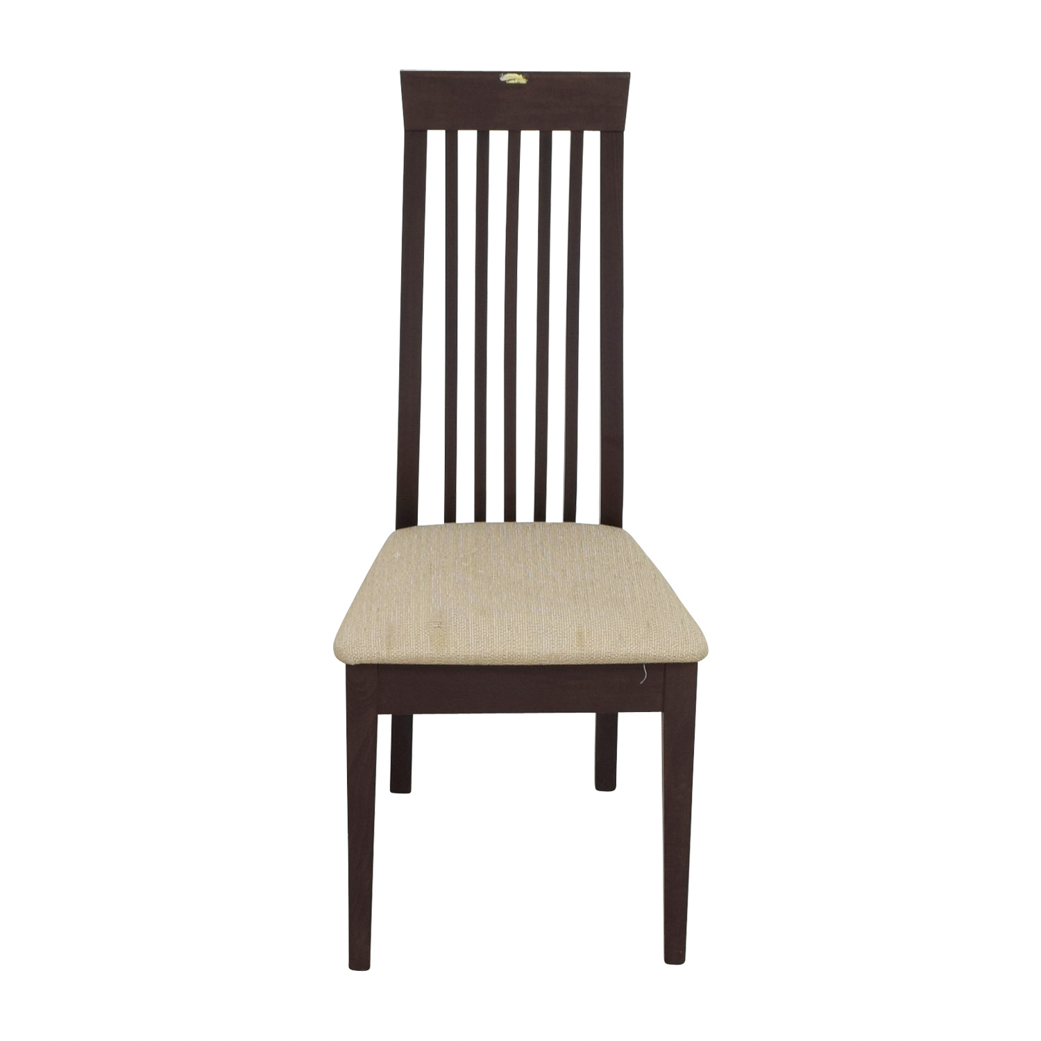 buy Wood Vertical Slat Back with Tan Cushioned Chair