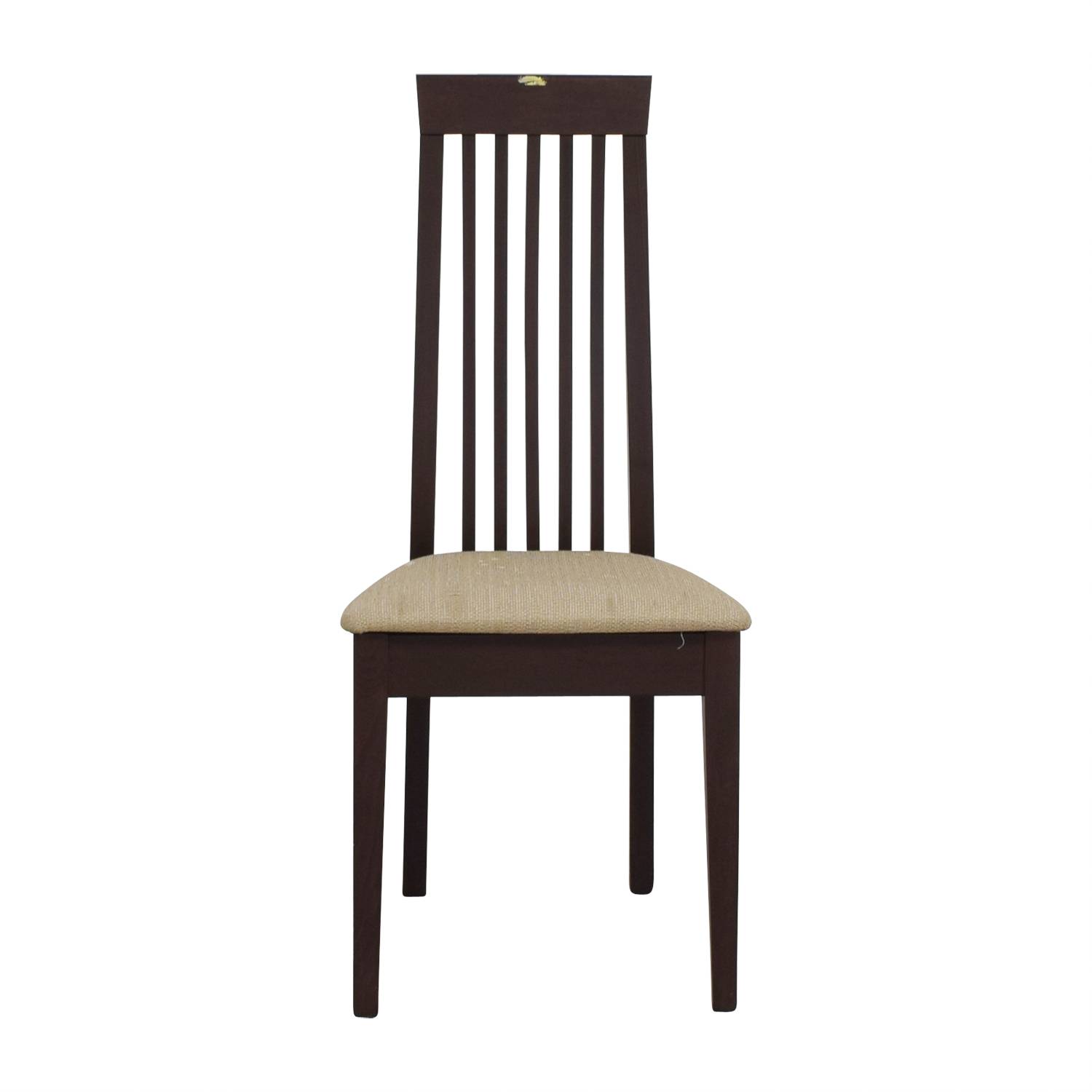 Wood Vertical Slat Back with Tan Cushioned Chair