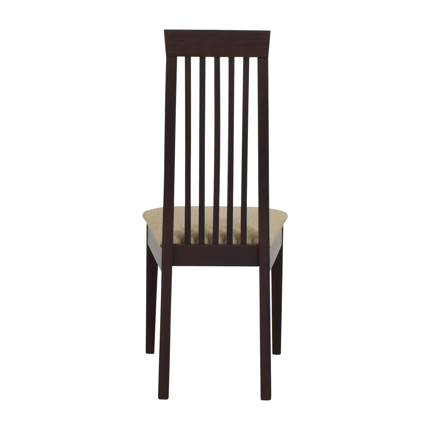 Wood Vertical Slat Back with Tan Cushioned Chair dimensions