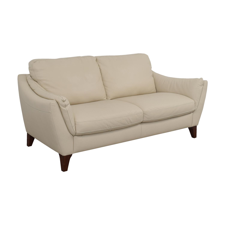 buy Raymour & Flanigan Natuzzi Editions Beige Leather Two-Cushion Sofa Raymour & Flanigan Classic Sofas