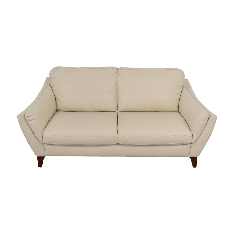 Raymour & Flanigan Raymour & Flanigan Natuzzi Editions Beige Leather Two-Cushion Sofa Sofas