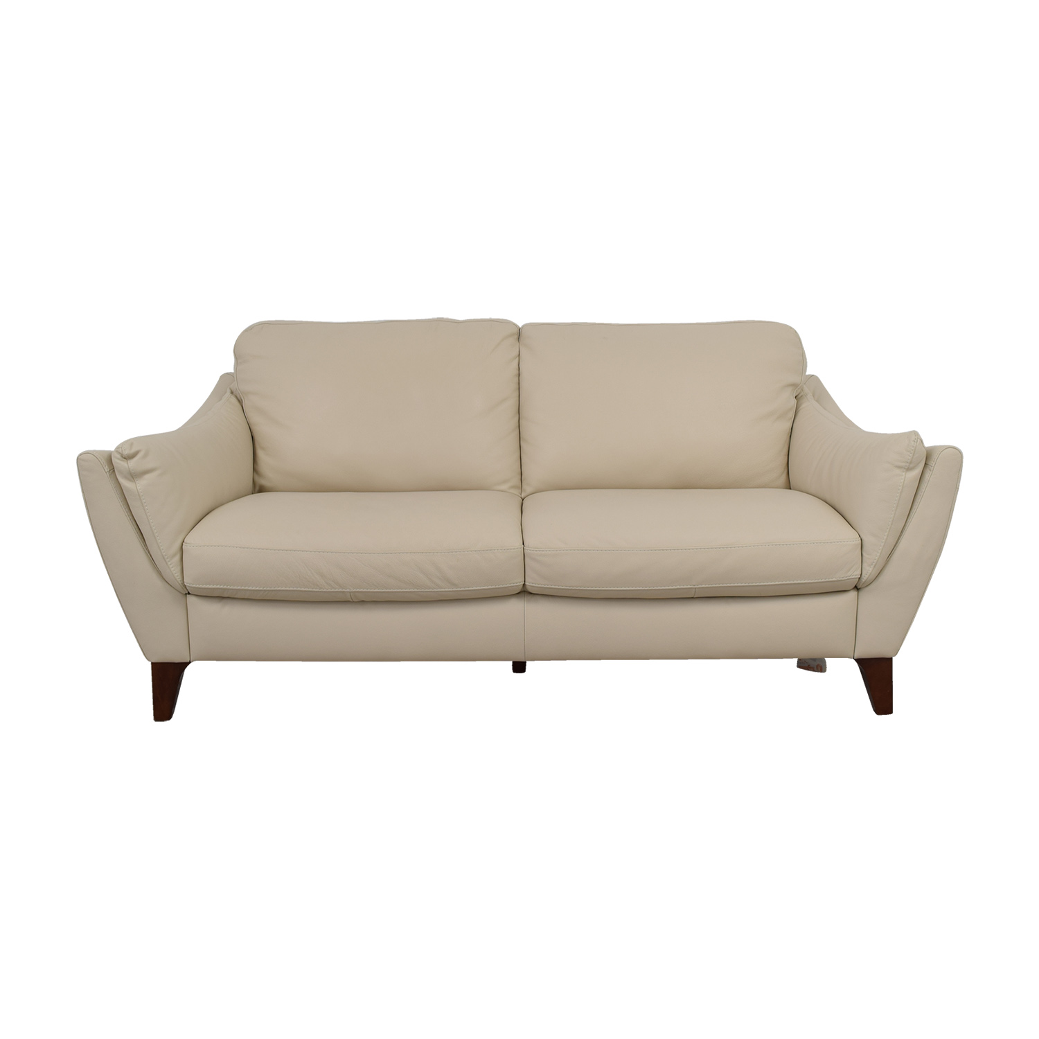 Raymour & Flanigan Natuzzi Editions Beige Leather Two-Cushion Sofa Raymour & Flanigan