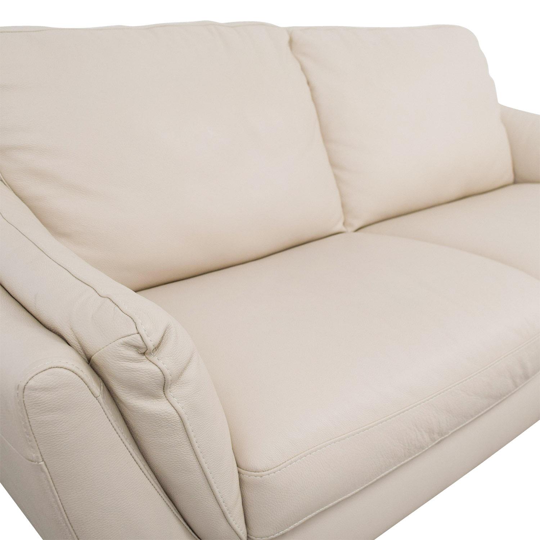Raymour & Flanigan Natuzzi Editions Beige Leather Two-Cushion Sofa / Classic Sofas