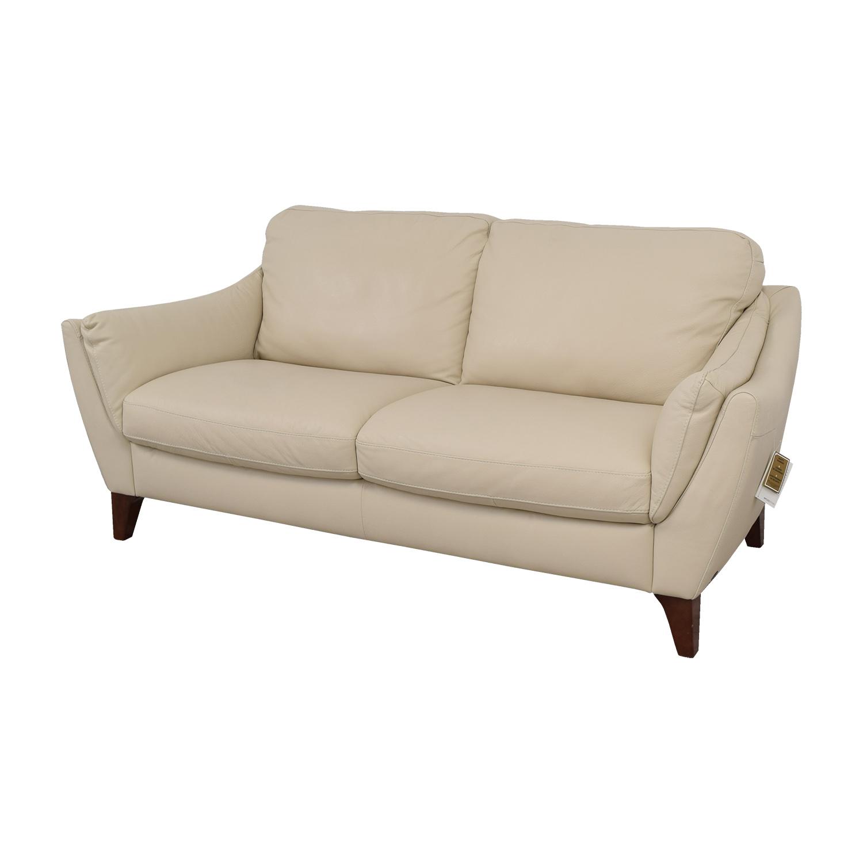 shop Raymour & Flanigan Natuzzi Editions Beige Leather Two-Cushion Sofa Raymour & Flanigan Classic Sofas