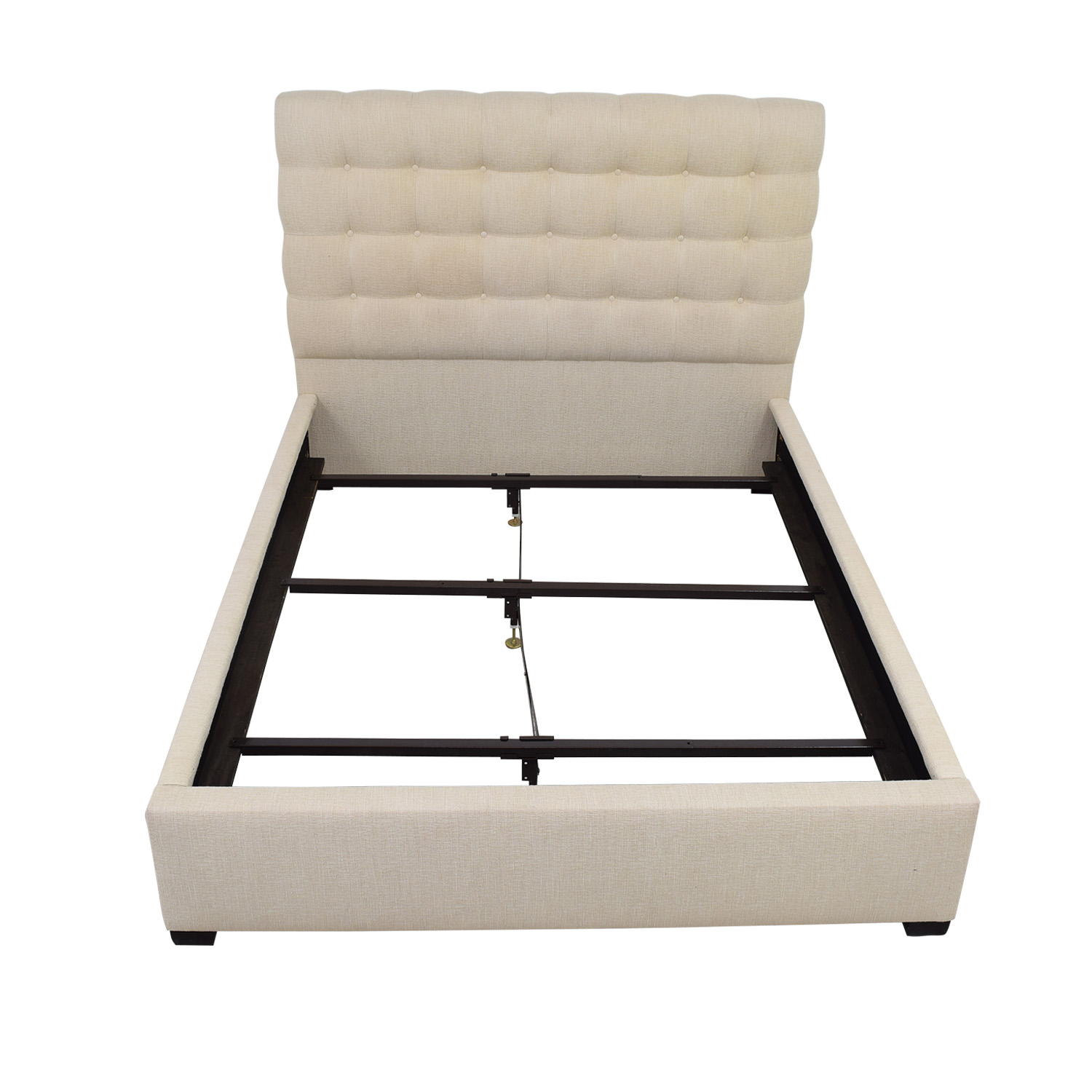 shop Raymour & Flanigan Beige Tufted Contemporary Dana Queen Bed Frame Raymour & Flanigan Bed Frames