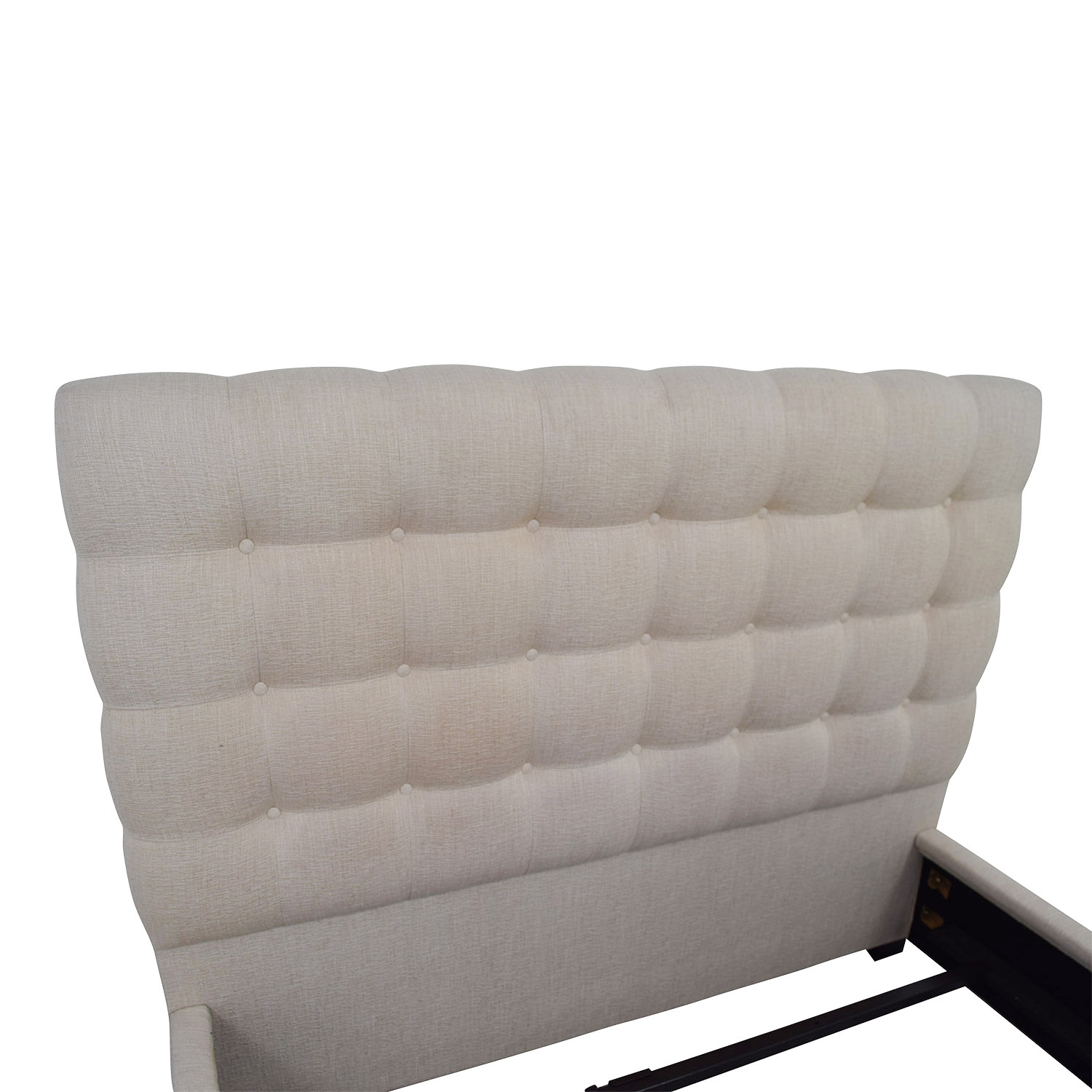 shop Raymour & Flanigan Raymour & Flanigan Beige Tufted Contemporary Dana Queen Bed Frame online
