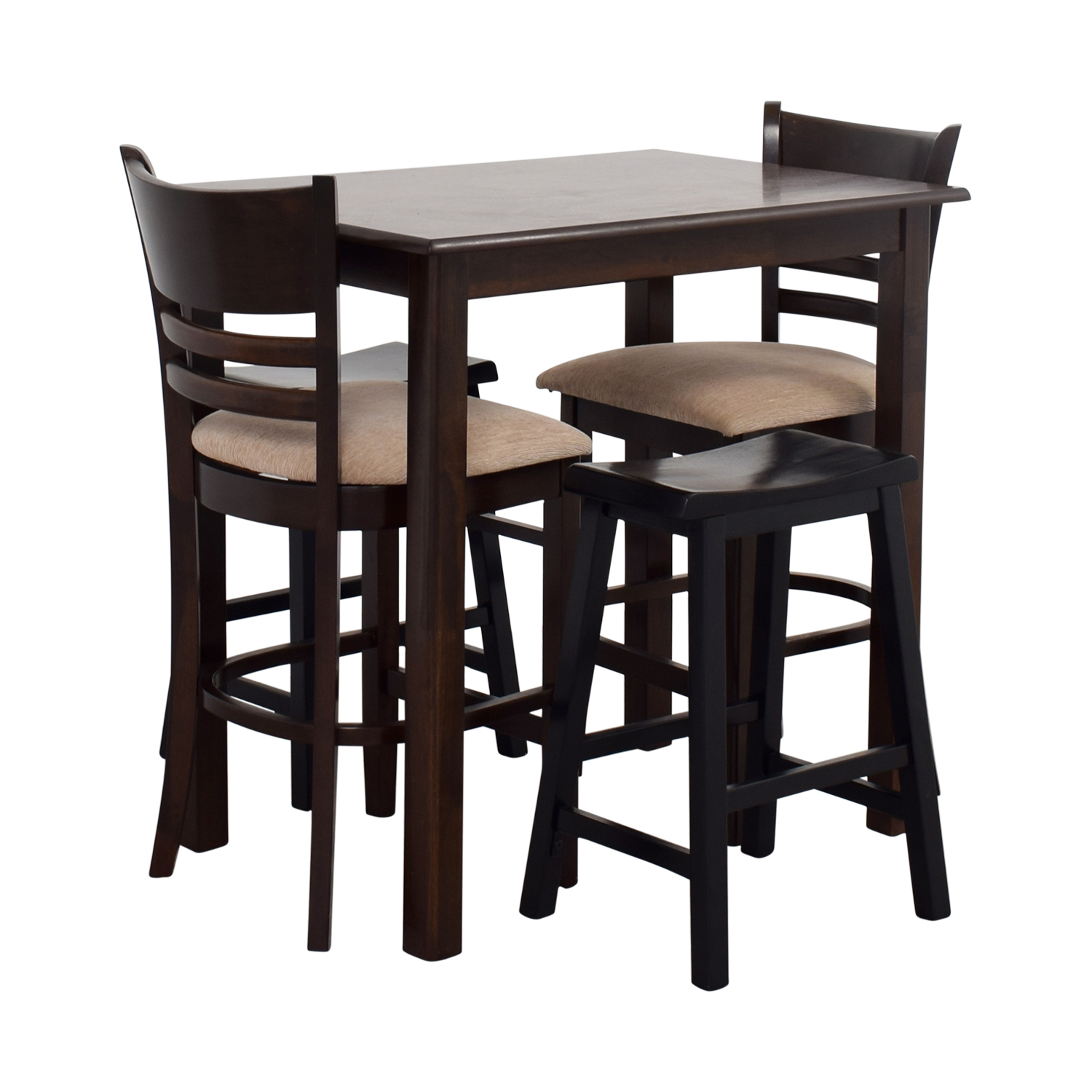 Dining Table With Two Chairs: Simple Bar Table With Two Chairs And Two Stools