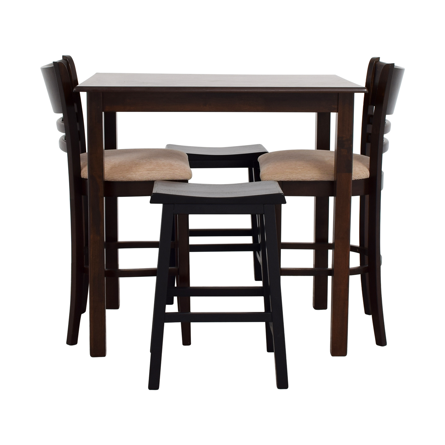 Simple Bar Table with Two Chairs and Two Stools dimensions