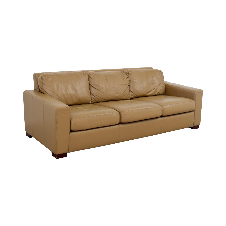 Design Within Reach Design Within Reach Tan Leather Three-Cushion Sofa nyc