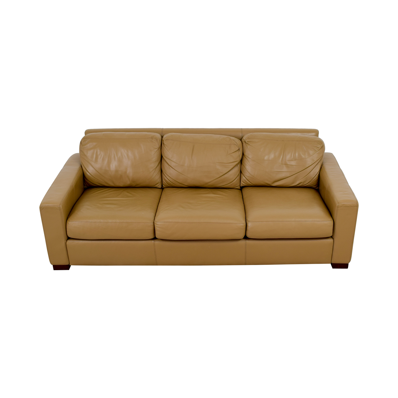 Design Within Reach Design Within Reach Tan Leather Three-Cushion Sofa on sale