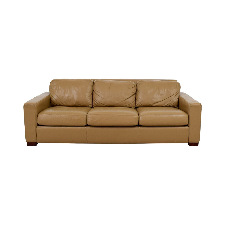 Design Within Reach Design Within Reach Tan Leather Three-Cushion Sofa Sofas