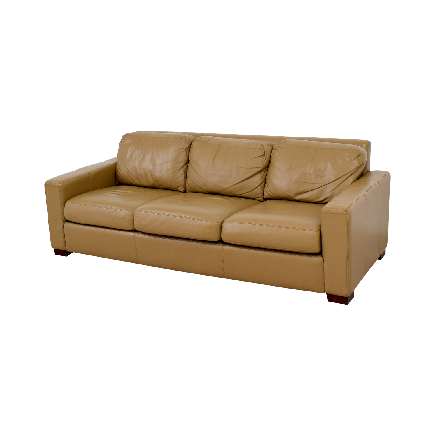 shop Design Within Reach Tan Leather Three-Cushion Sofa Design Within Reach Classic Sofas