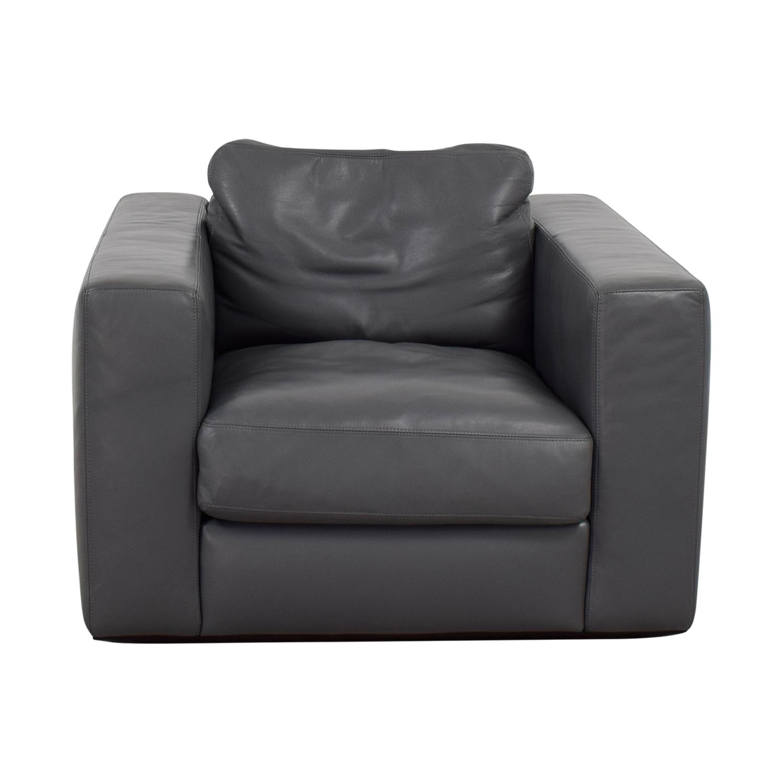 Pleasing 90 Off Design Within Reach Design Within Reach Grey Leather Sofa Chair Chairs Machost Co Dining Chair Design Ideas Machostcouk