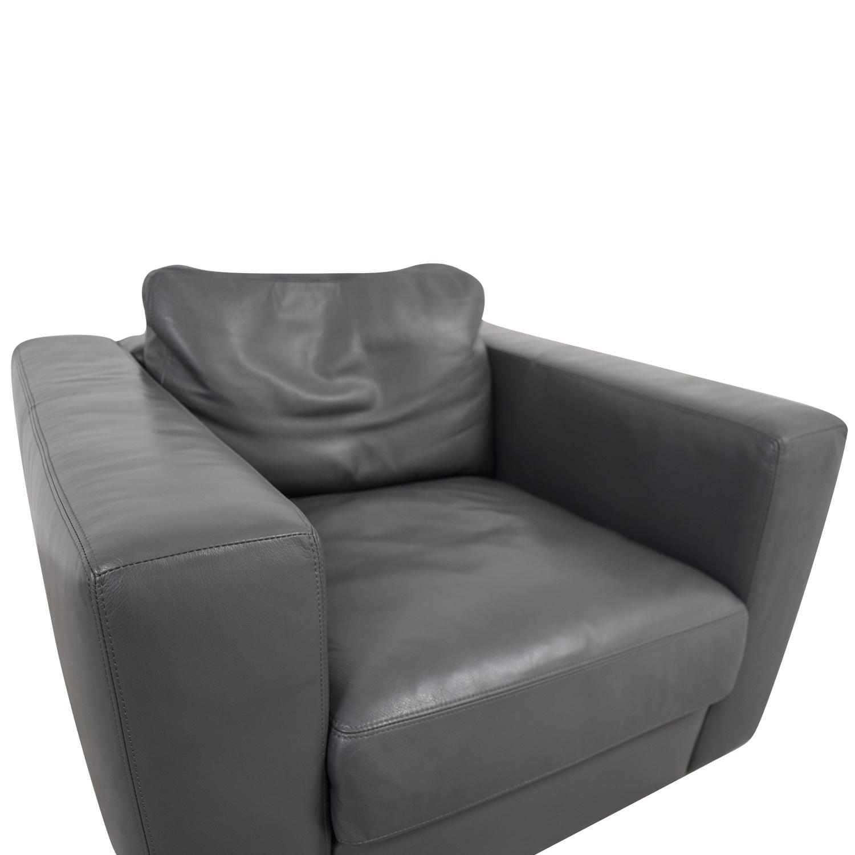 Brilliant 90 Off Design Within Reach Design Within Reach Grey Leather Sofa Chair Chairs Machost Co Dining Chair Design Ideas Machostcouk