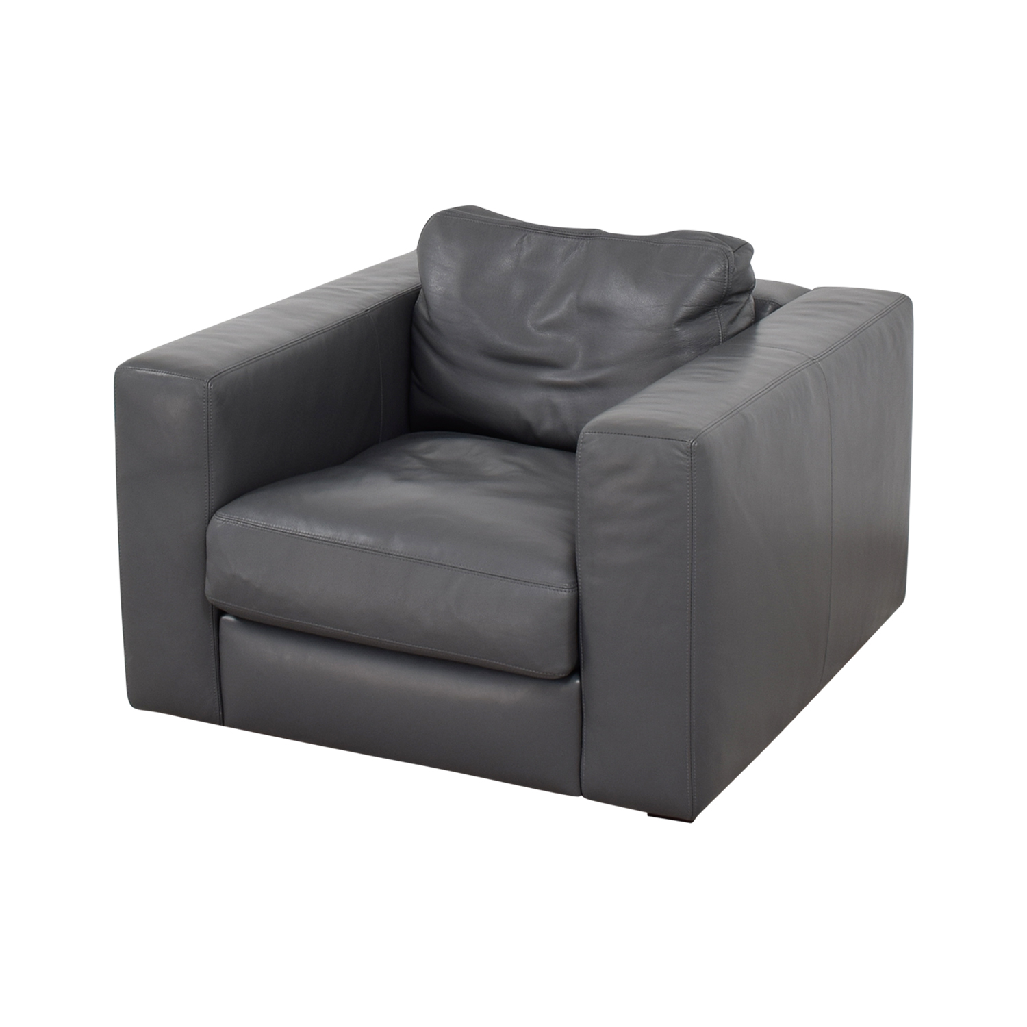 Design Within Reach Grey Leather Sofa Chair sale