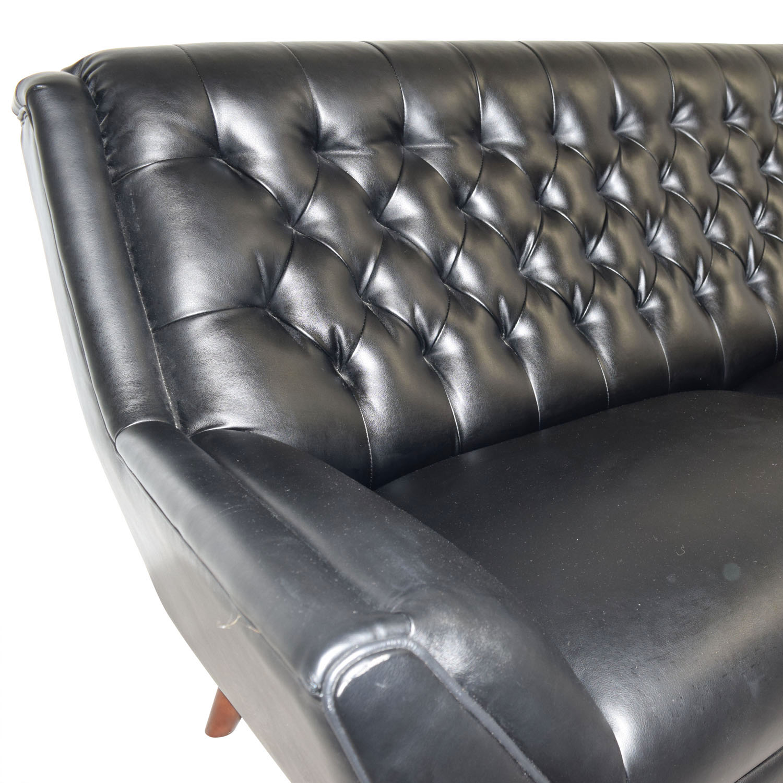 shop Hokku Designs Black Leather Tufted Sofa Hokku Designs Classic Sofas