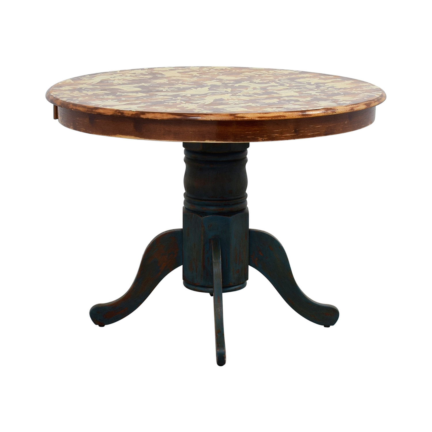 Hand-Stenciled Farmhouse Style Round Kitchen Table / Tables
