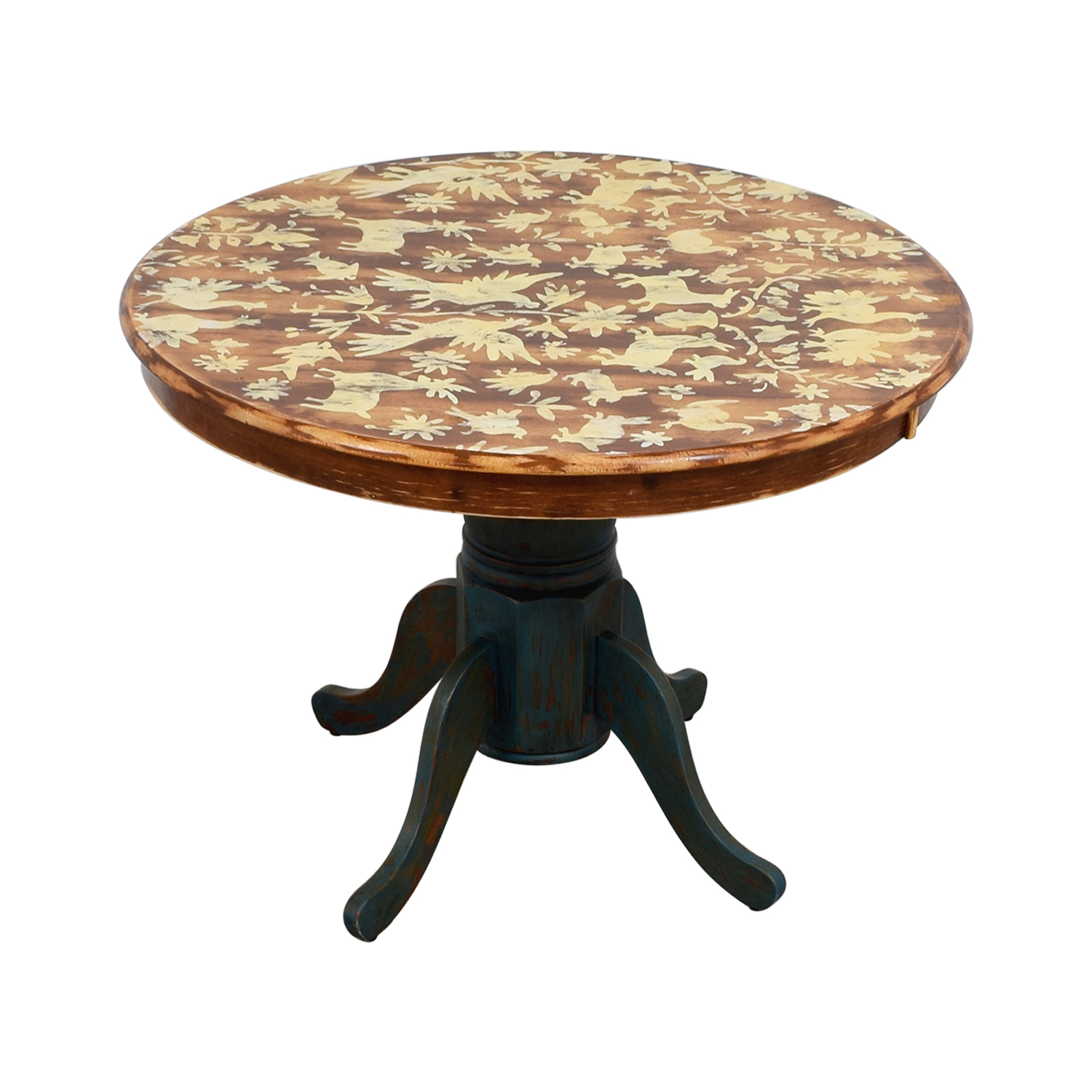 Vintage Hand-Stenciled Farmhouse Style Round Kitchen Table discount