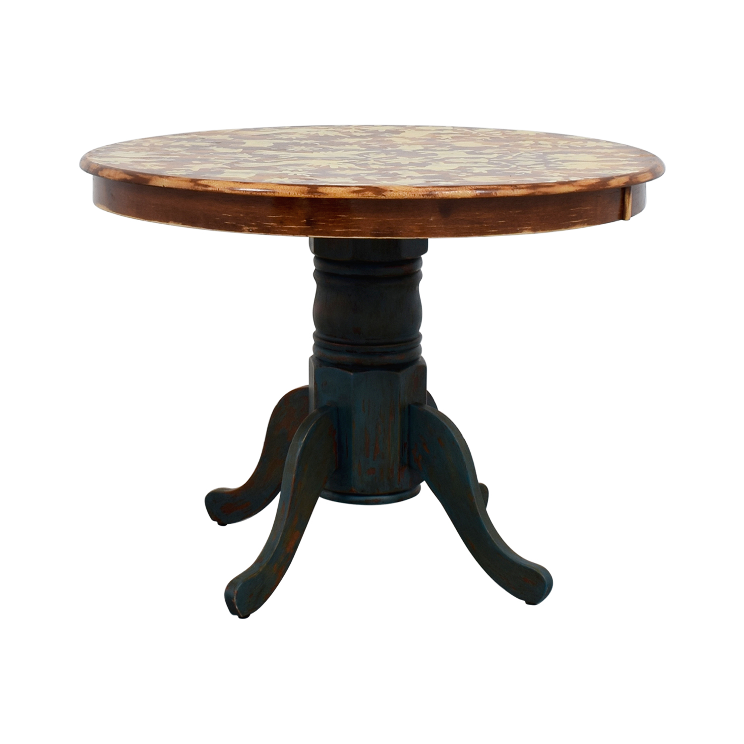 Vintage Hand-Stenciled Farmhouse Style Round Kitchen Table dimensions