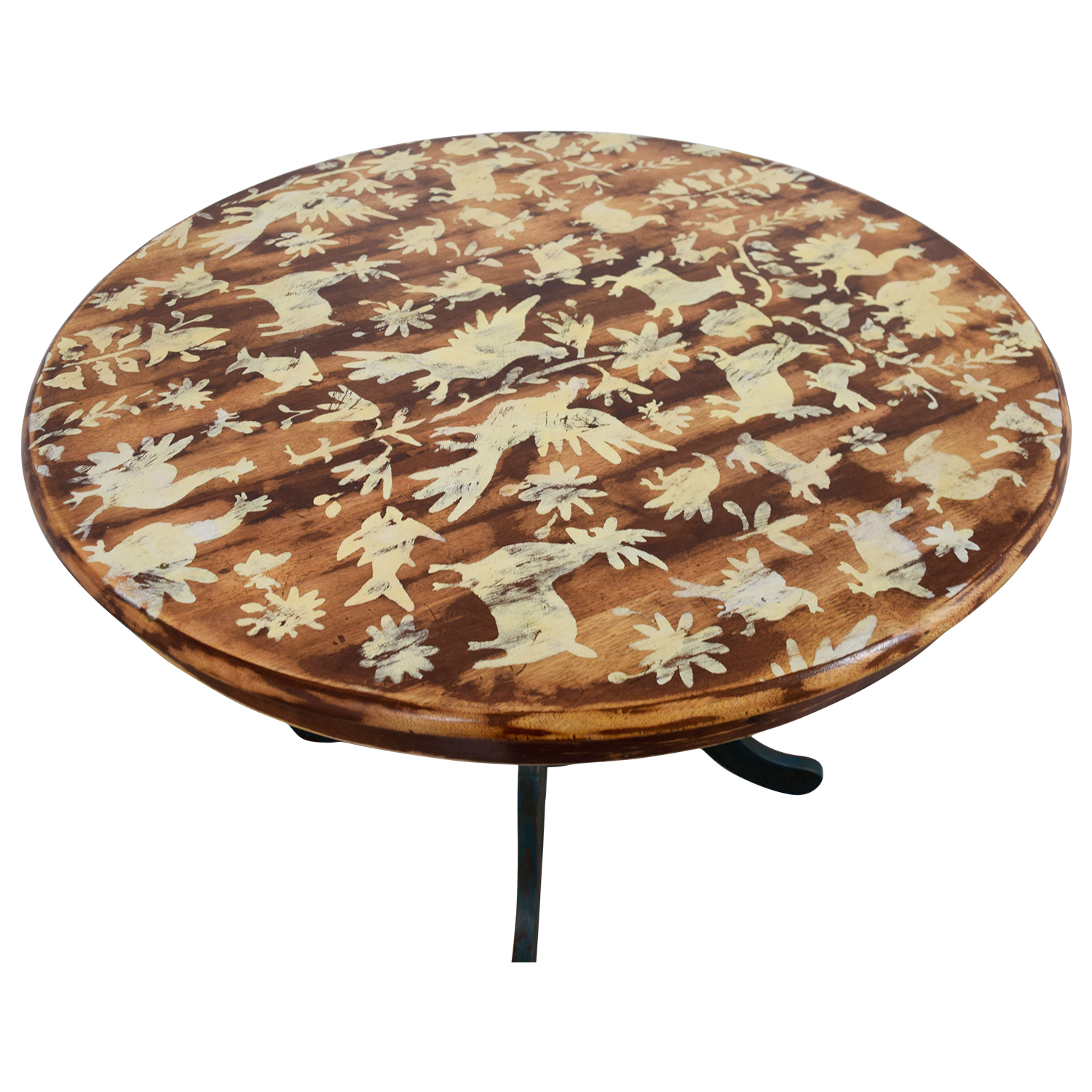 Vintage Hand-Stenciled Farmhouse Style Round Kitchen Table for sale