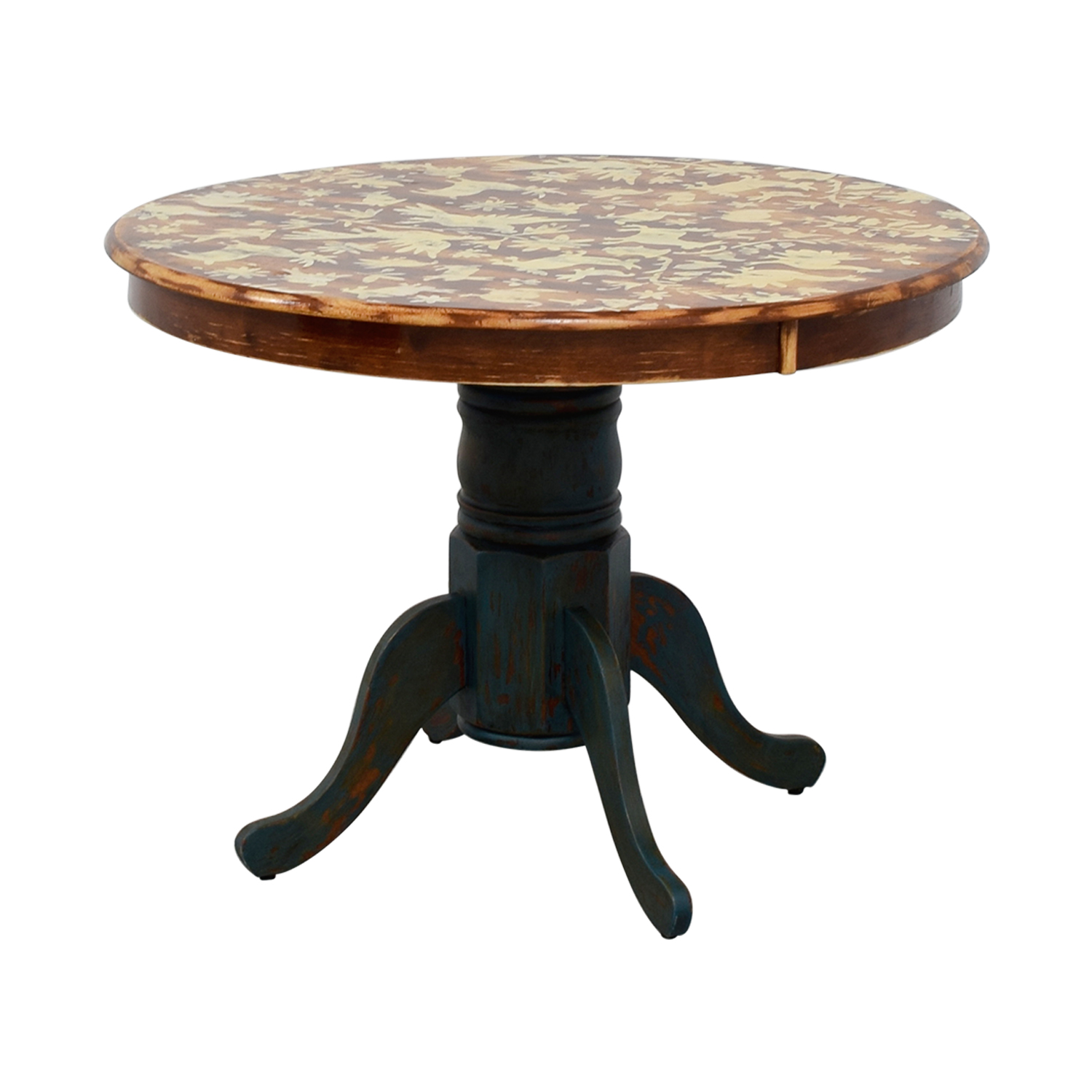 Vintage Hand-Stenciled Farmhouse Style Round Kitchen Table second hand