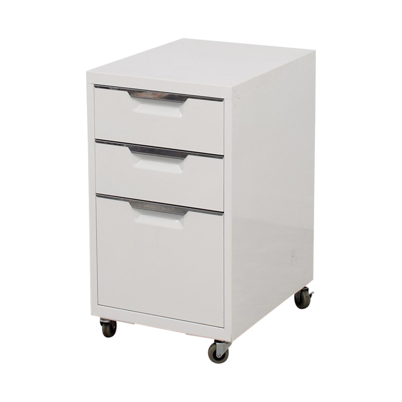 CB2 CB2 TPS White 3-Drawer Filing Cabinet Filing & Bins