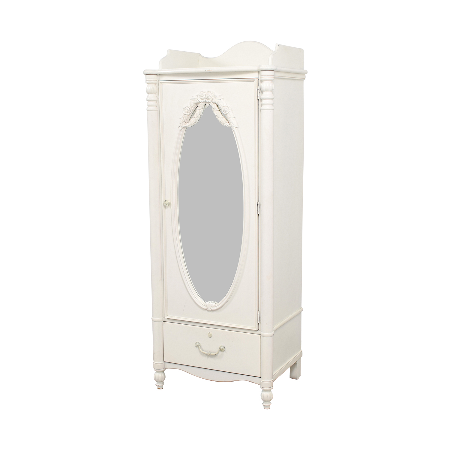 shop Stanley Home Furniture White Armoire with Exterior Mirror Stanley Home Furniture Wardrobes & Armoires