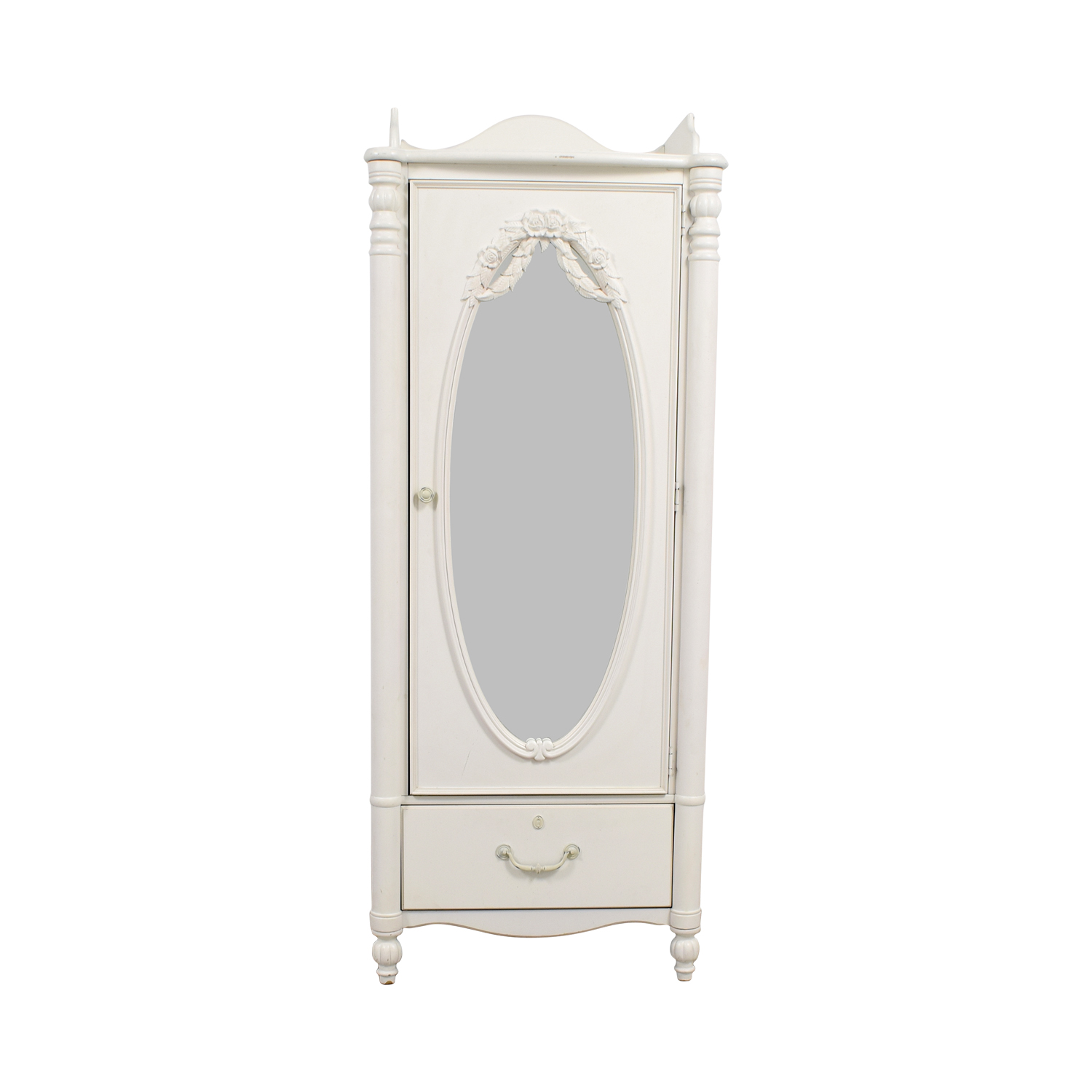 Stanley Home Furniture Stanley Home Furniture White Armoire with Exterior Mirror Wardrobes & Armoires