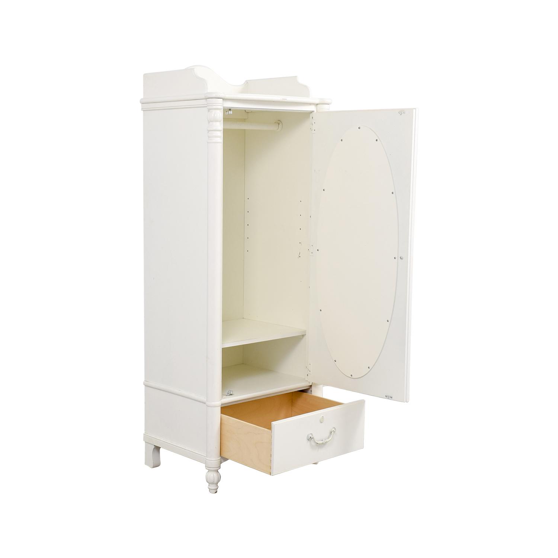 Stanley Home Furniture Stanley Home Furniture White Armoire with Exterior Mirror Storage