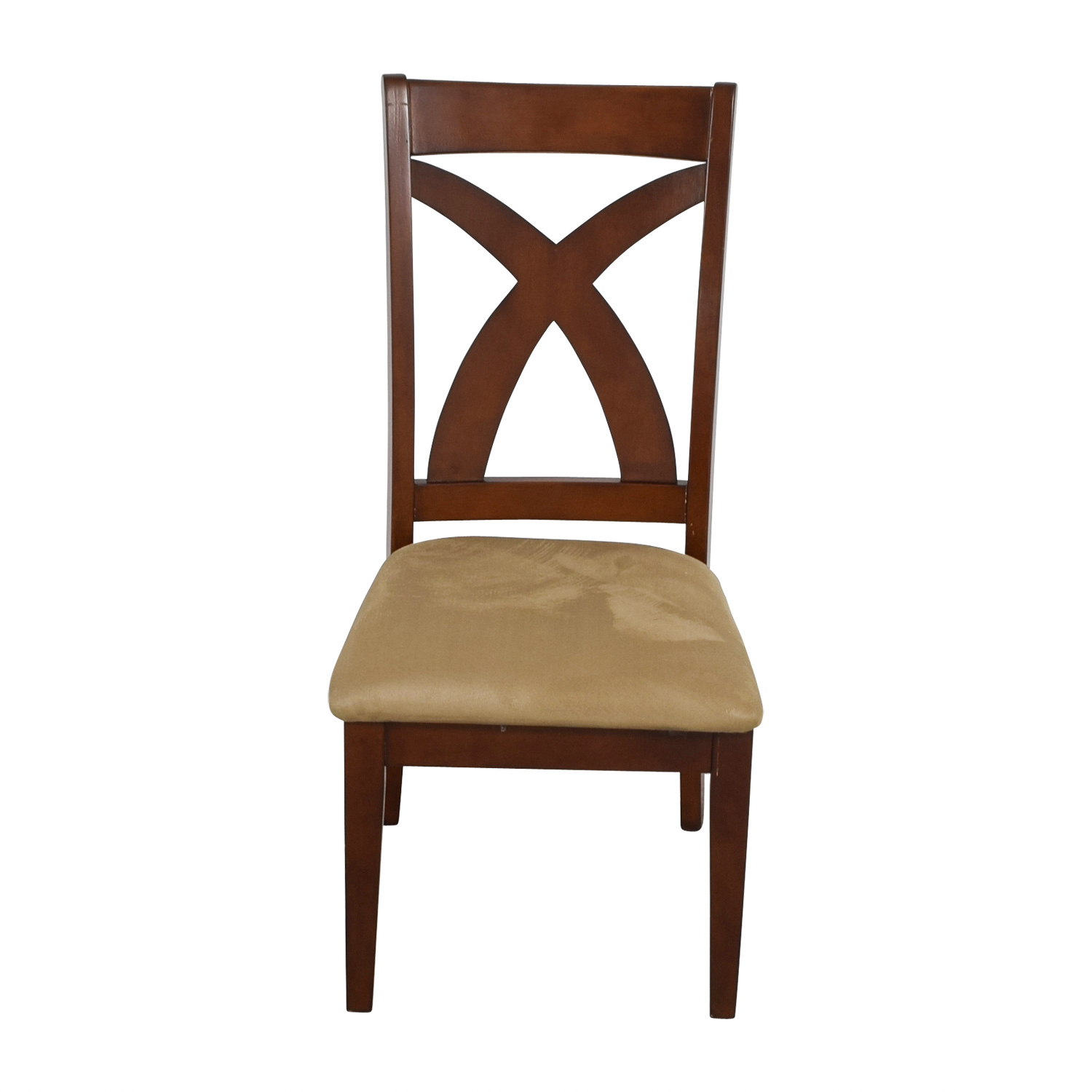 Cross Back Wood Chair with Padded Seat / Dining Chairs