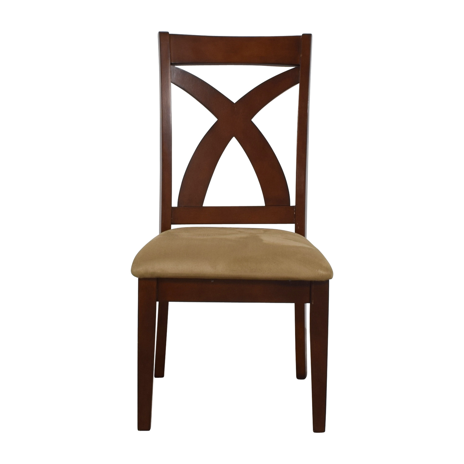 Cross Back Wood Chair with Padded Seat second hand