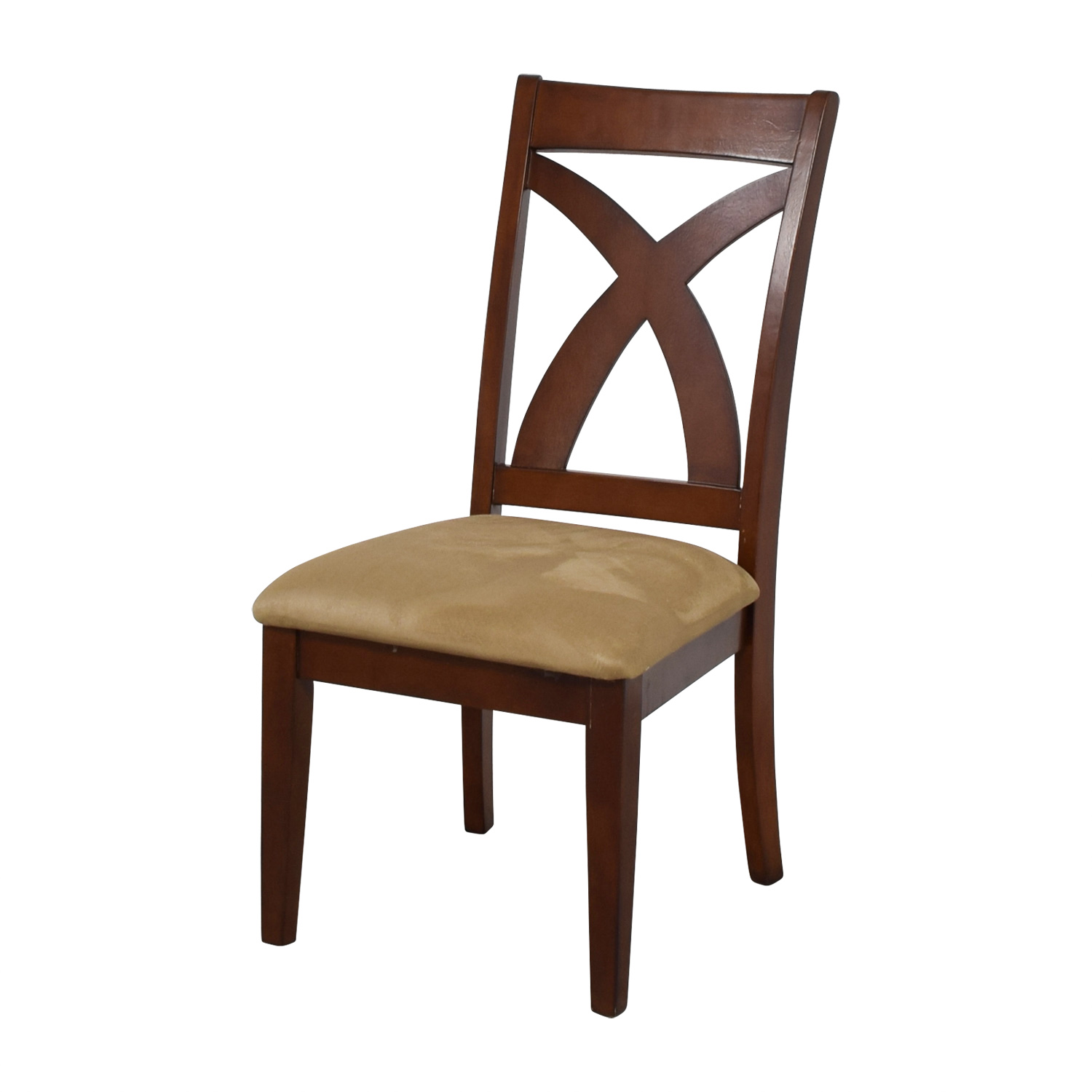 Cross Back Wood Chair with Padded Seat on sale