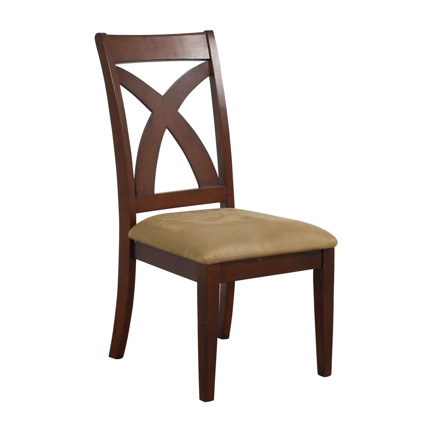 Cross Back Wood Chair with Padded Seat nj
