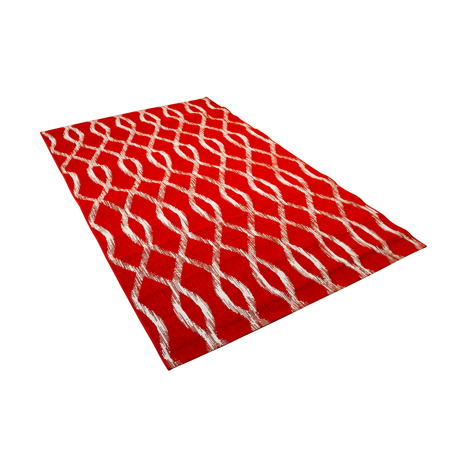 Crate & Barrel Crate & Barrel Indoor and Outdoor Red and White Rug