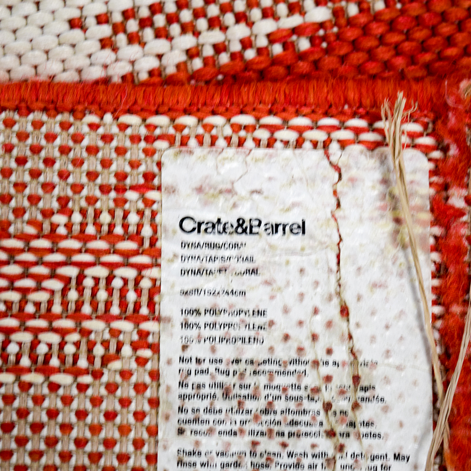 Crate & Barrel Crate & Barrel Indoor and Outdoor Red and White Rug nyc