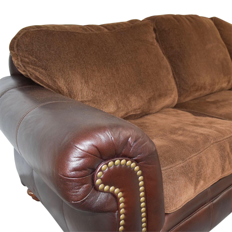Simmons Simmons Sofa with Leather Arms Sofas