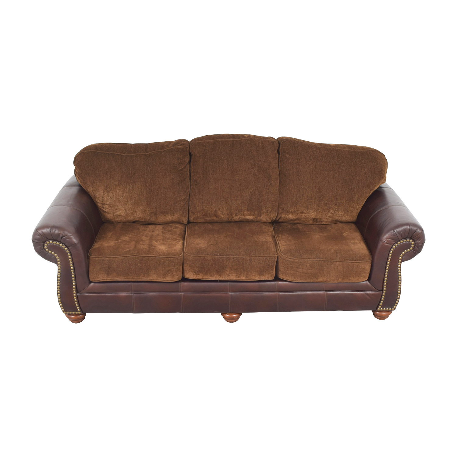 Simmons Simmons Sofa with Leather Arms coupon