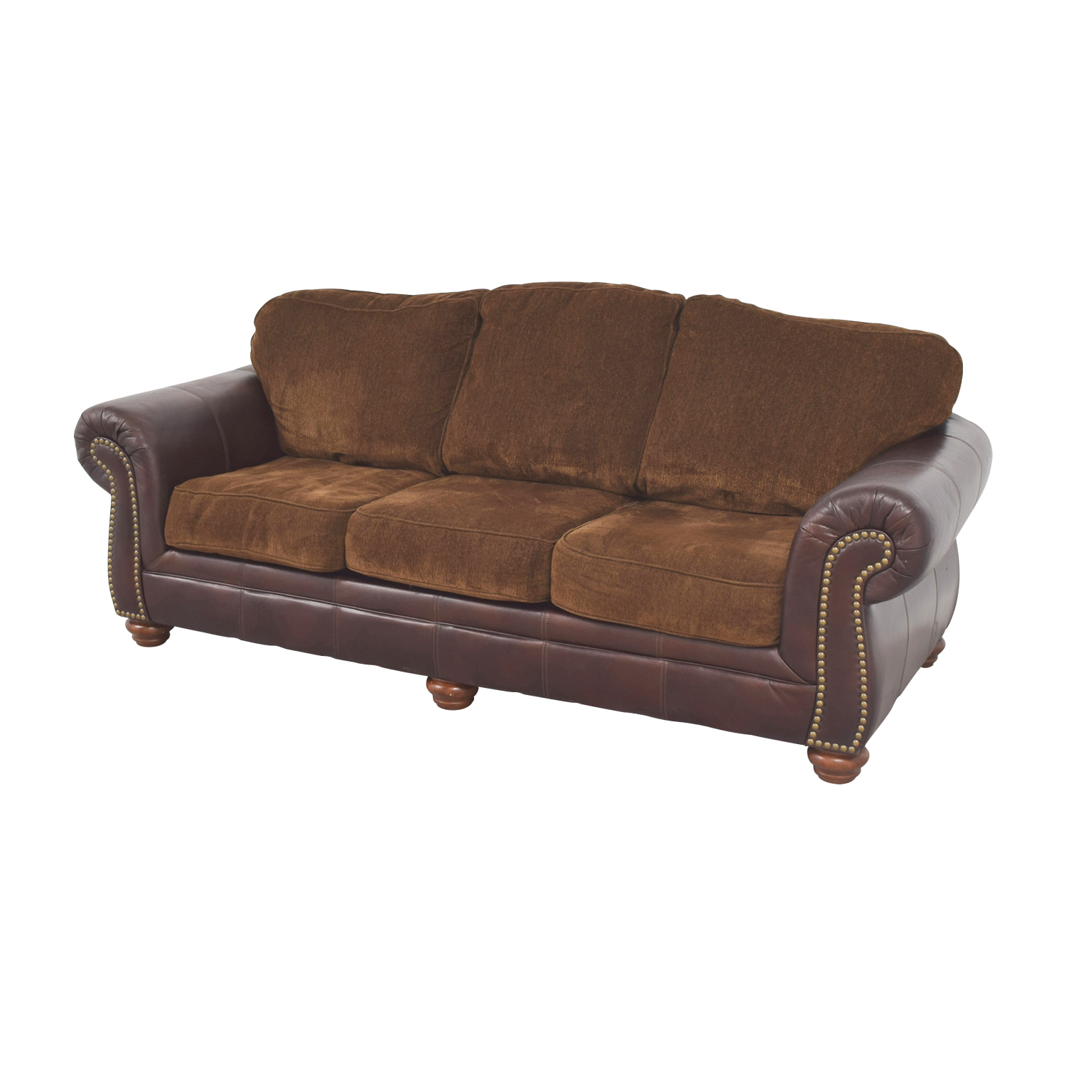 Simmons Sofa with Leather Arms sale