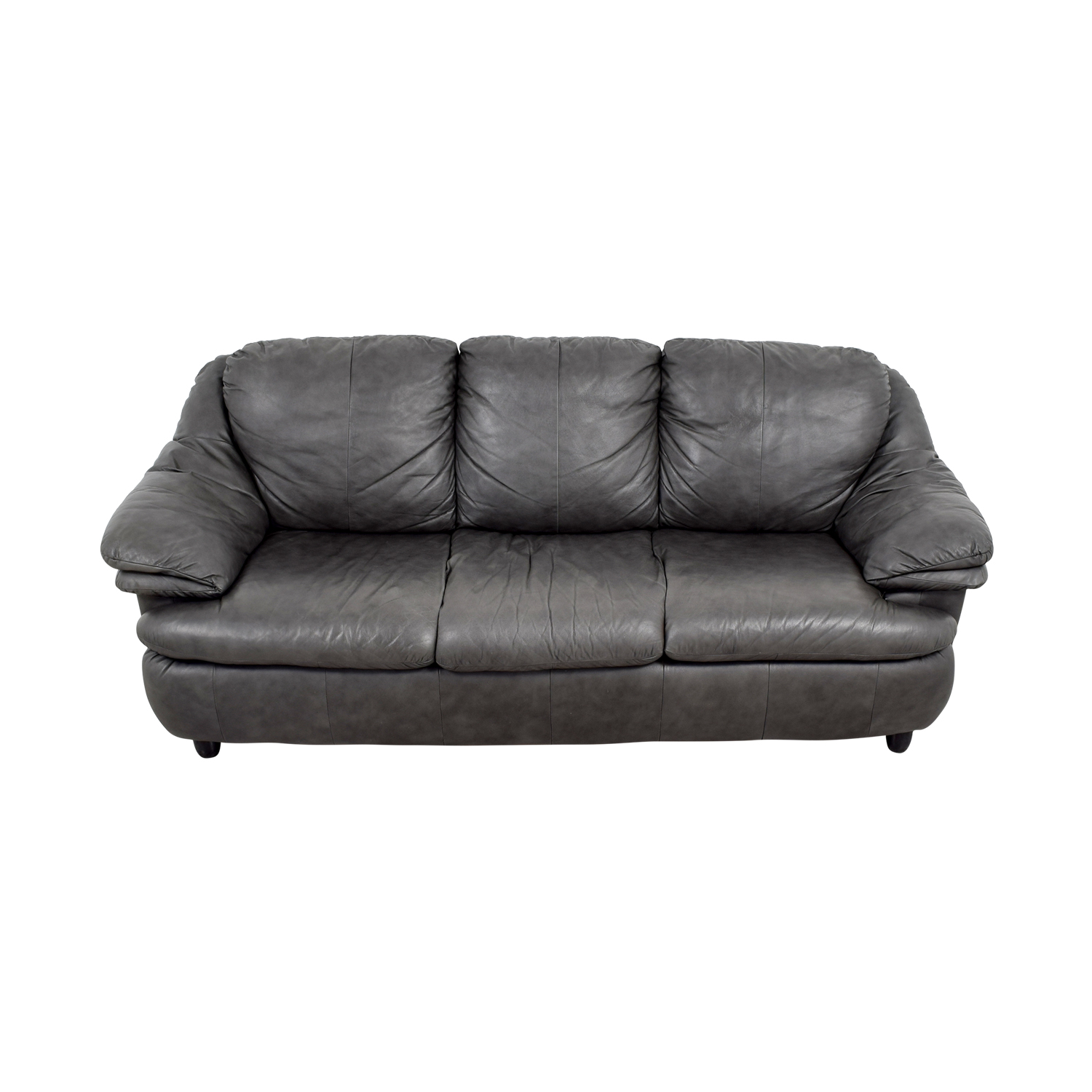 Jennifer Leather Jennifer Leather Natale Grey Three-Cushion Sofa price