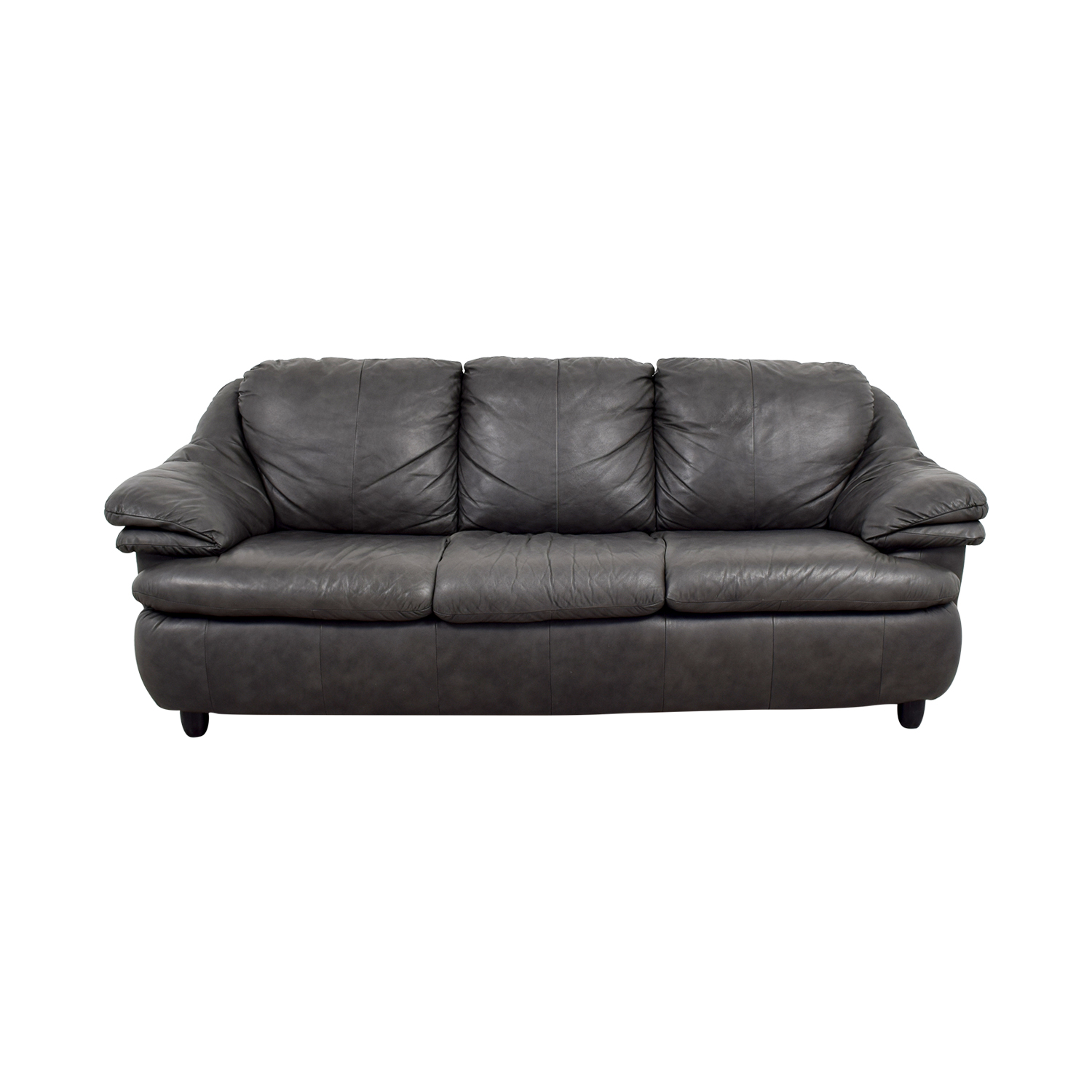 Jennifer Leather Natale Grey Three Cushion Sofa Sofas