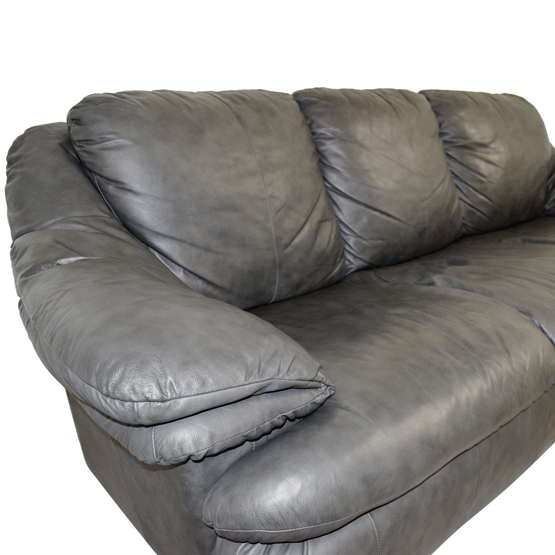 Jennifer Leather Natale Grey Three-Cushion Sofa sale