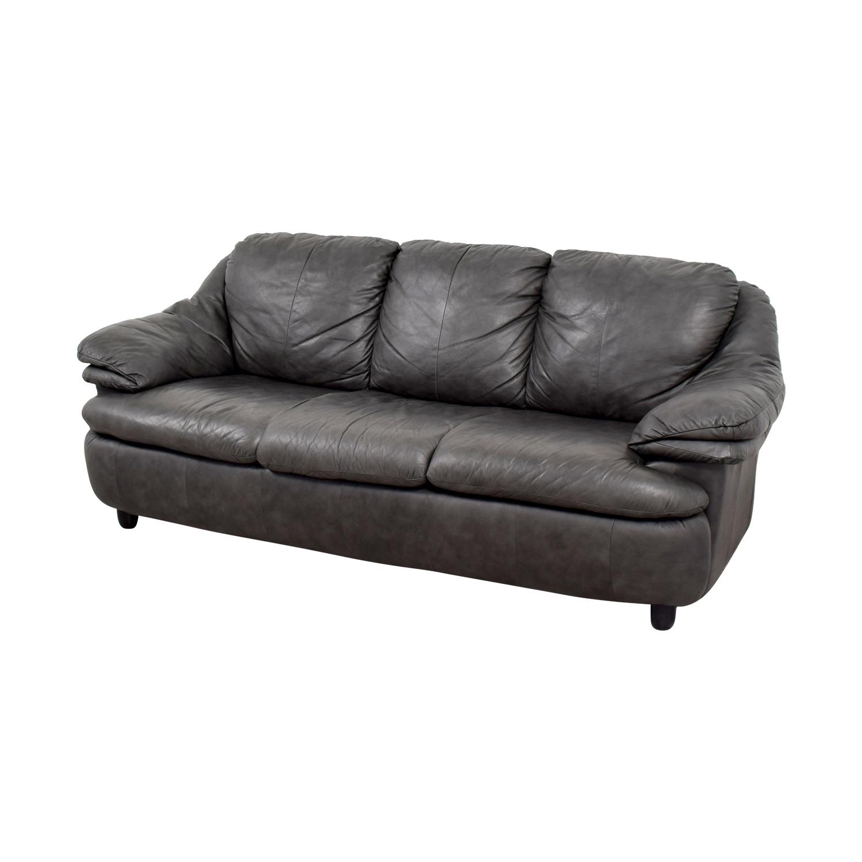 Jennifer Leather Jennifer Leather Natale Grey Three-Cushion Sofa used