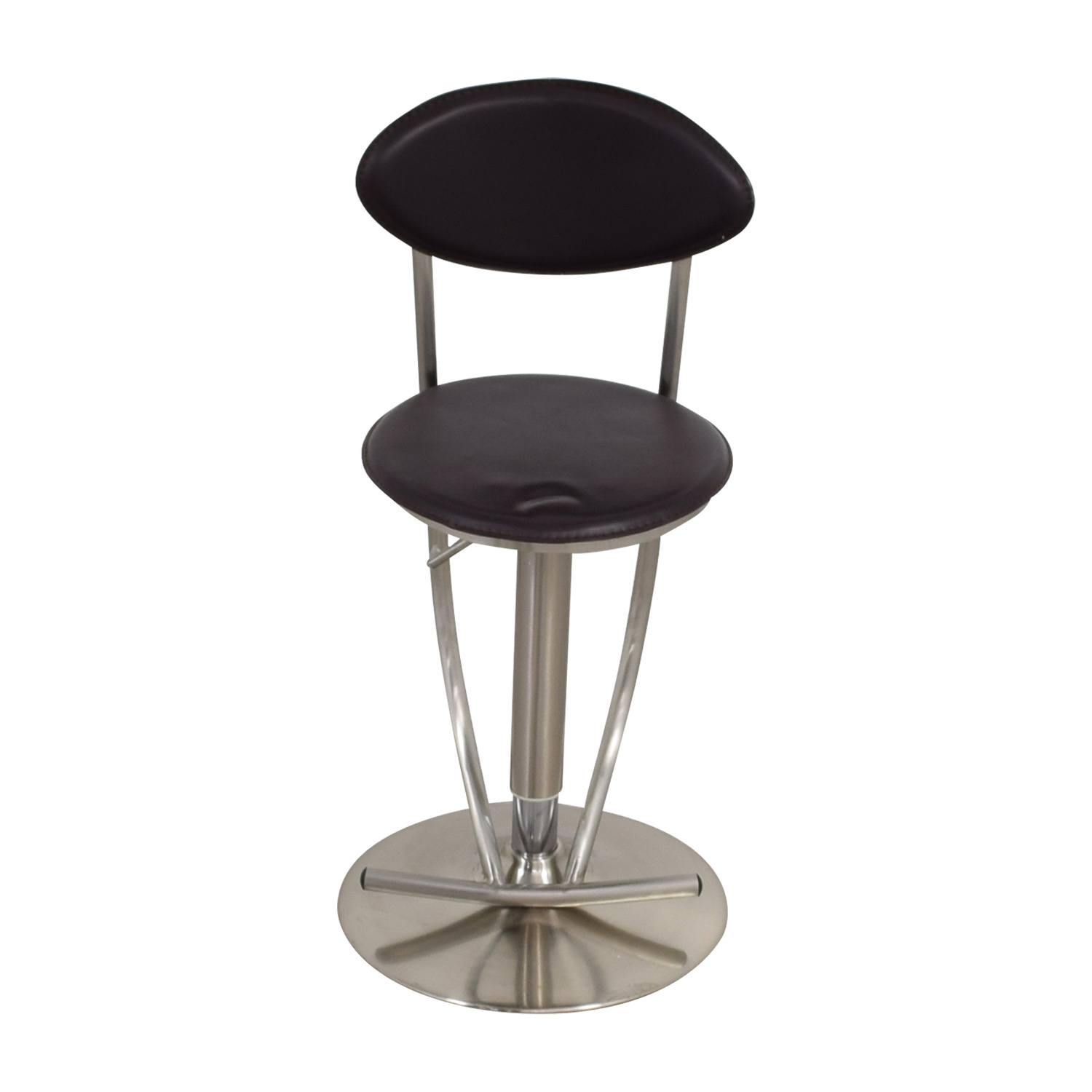 Circular Brown & Metal Stool Chocolate/Brown