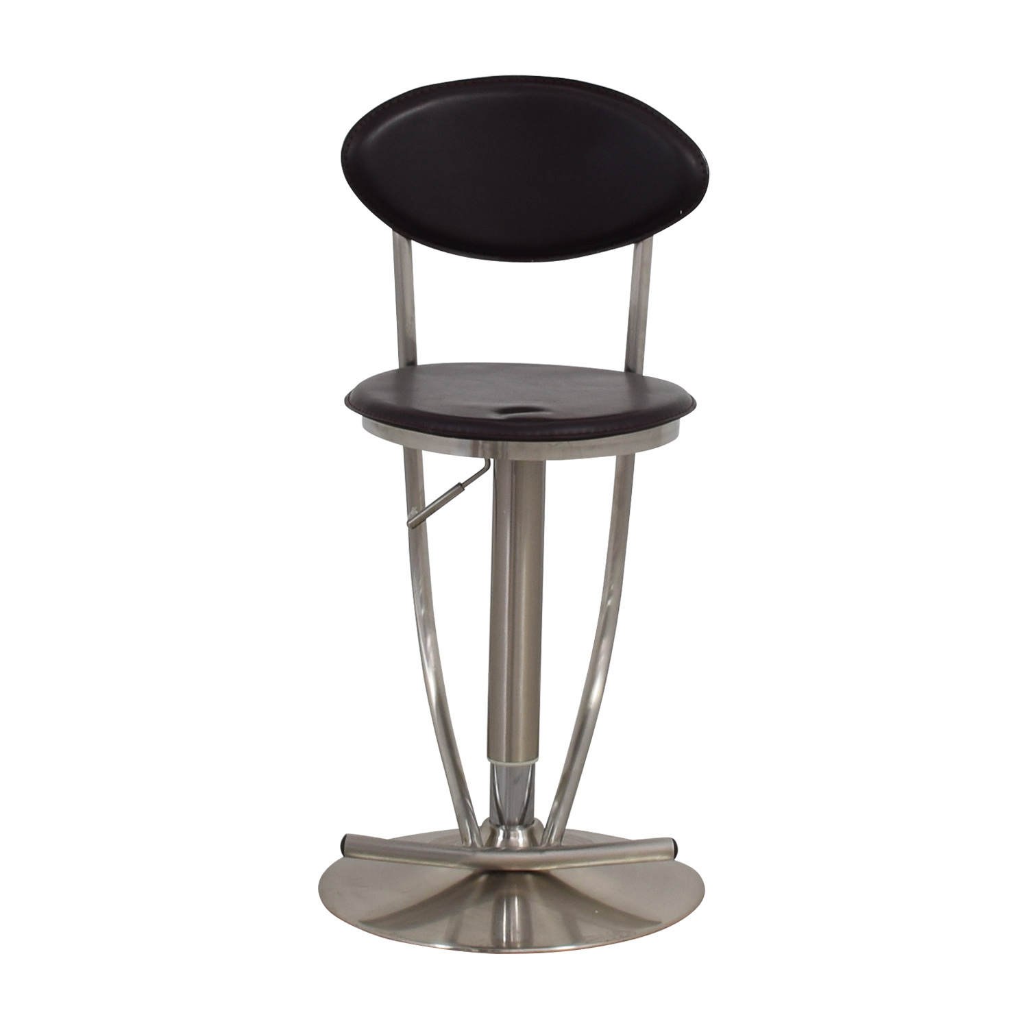 Circular Brown & Metal Stool used