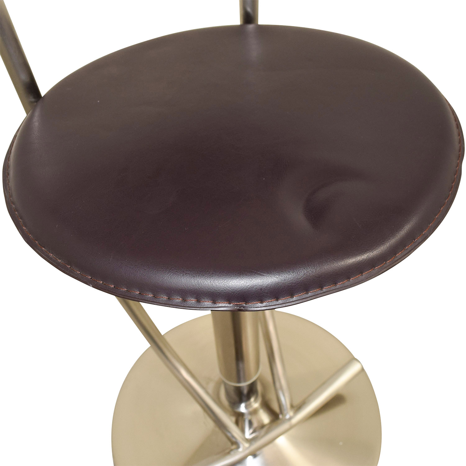 Circular Brown Metal Stool Chairs
