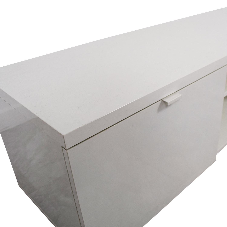 White Media Unit with Storage nyc