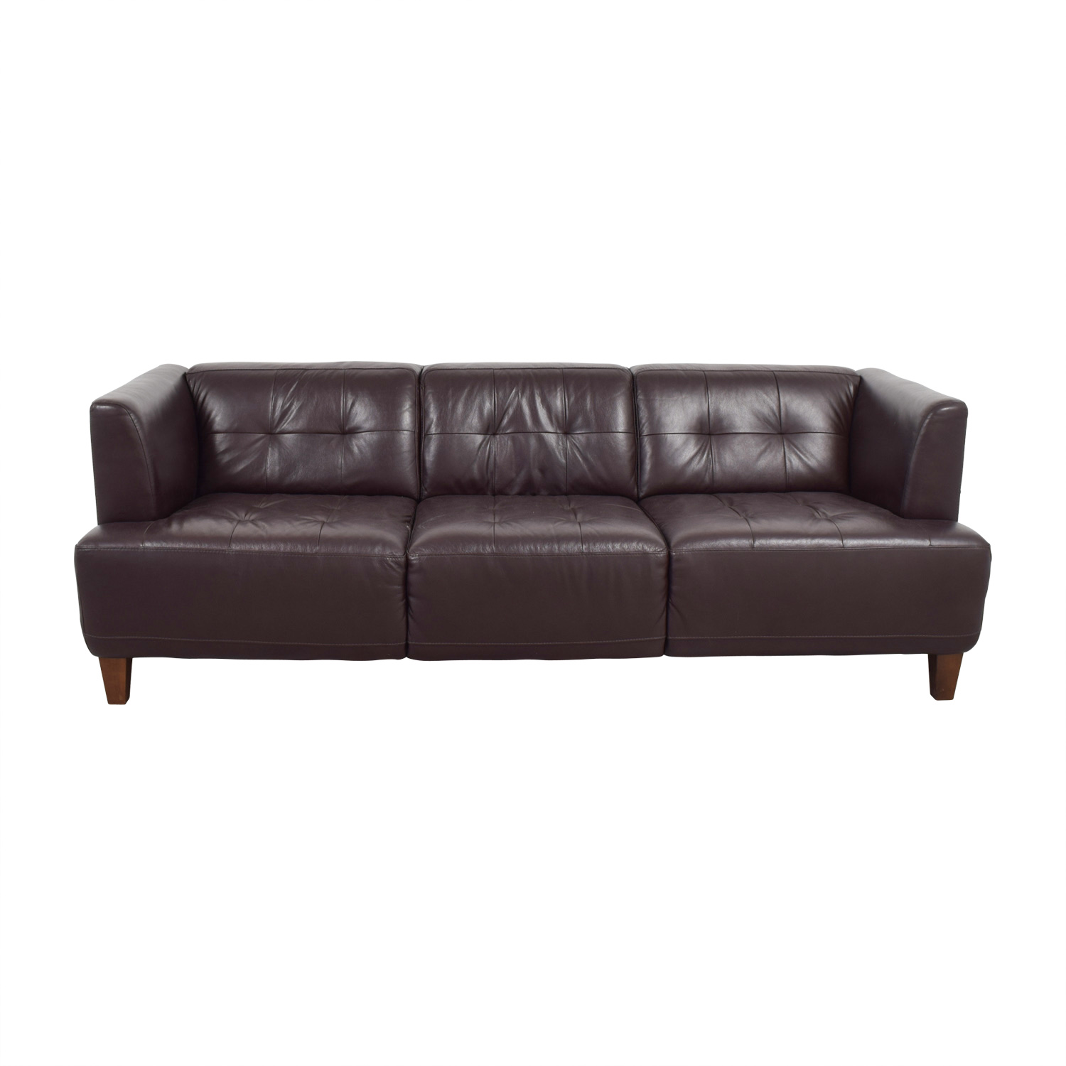 Macys Macys Brown Tufted Leather Couch discount